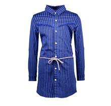 B.Nosy jurk denim with printed stripe and braided belt cobalt blue