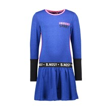 B.Nosy jurk lurex contrast sleeve-end and artwork cobalt blue