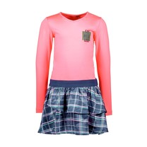 jurk with woven 2-layer skirt part festival pink