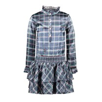 jurk with 2 layer skirt part and button closure check oxford blue