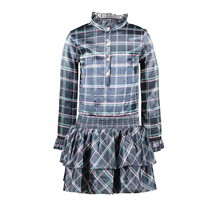 B.Nosy jurk with 2 layer skirt part and button closure check oxford blue