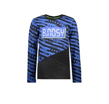 B.Nosy jongens longsleeve with slanted cut and sew panels and chest artwork fast track