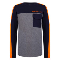 jongens longsleeve pocket dark grey melange
