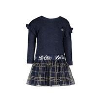 jurk with glitter check skirt blue navy