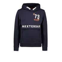 trui hoodie fake anorak navy