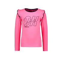 meisjes longsleeve with double layer ruffle around armhole knock out pink