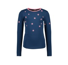 B.Nosy meisjes longsleeve with embroidered stars around neck space blue