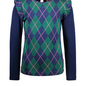 B.Nosy meisjes longsleeve with check intarsia front panel and solid sleeves out check