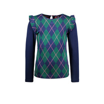 meisjes longsleeve with check intarsia front panel and solid sleeves out check