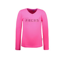 meisjes longsleeve with puffed sleeve and chest artwork knock out pink