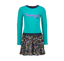B.Nosy jurk with multicolor sequince skirt and solid top fanfare