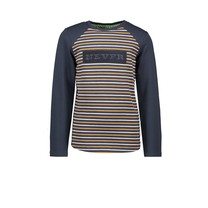jongens longsleeve fake raglan with yds body oak stripe