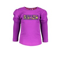 meisjes longsleeve with puffed sleeve and fancy artwork on chest sparkling grape