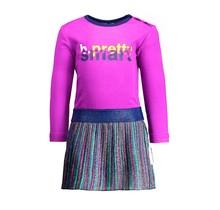 B.Nosy jurkje with multi color stripe lurex skirt sparkling grape
