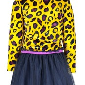 B.Nosy jurkje with panther aop velvet top and solid skirt ao panther