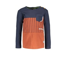 jongens longsleeve with cut and sew and patched pocket baseball cognac