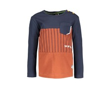 B.Nosy jongens longsleeve with cut and sew and patched pocket baseball cognac