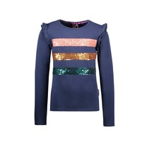meisjes longsleeve with sequince stripes at chest space blue