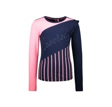 B.Nosy meisjes longsleeve slanted cut and sew with ruffle detail at left armhole space blue
