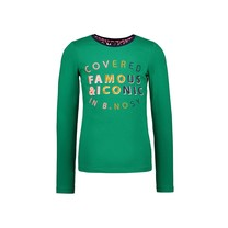 meisjes longsleeve with lace detail at the backside and embro on chest jade green
