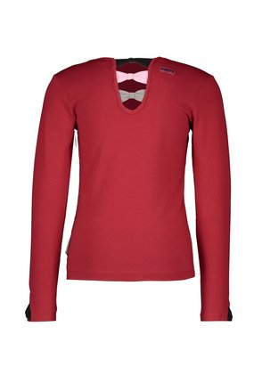 B.Nosy meisjes longsleeve with fancy pleated mesh artwork and bow details rio red