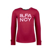 meisjes longsleeve with fancy pleated mesh artwork and bow details rio red
