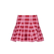 rok knitted with check intarsia rio red