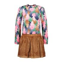 jurk with aop woven toppart and glitter velvet skirt leaf cover