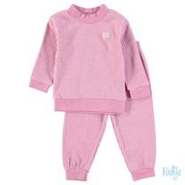wafel pyjama roze melange