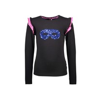 meisjes longsleeve with 2-color ruffle around armhole black