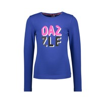 meisjes longsleeve with dazzle artwork on chest cobalt blue