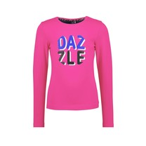 meisjes longsleeve with dazzle artwork on chest pink glo