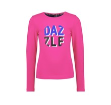 B.Nosy meisjes longsleeve with dazzle artwork on chest pink glo