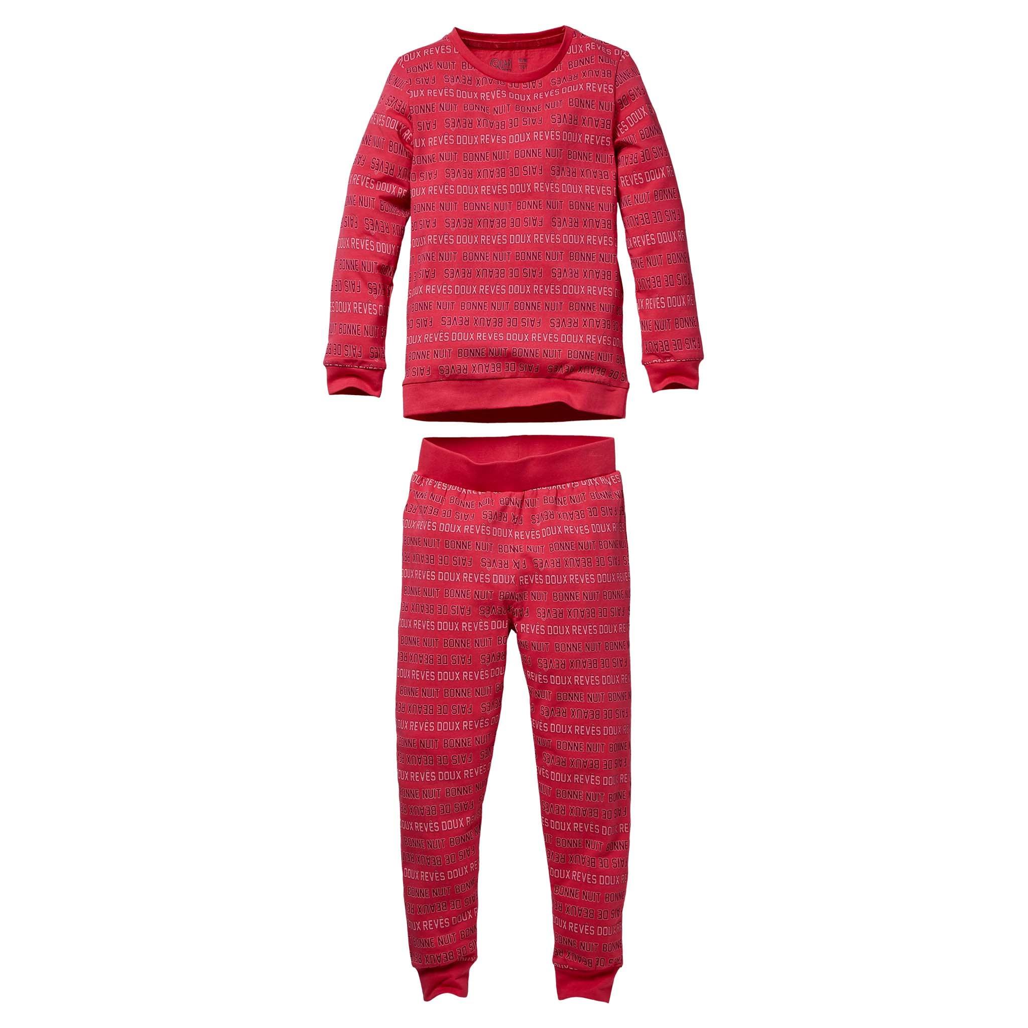 meisjes pyjama Puck aop hot pink text