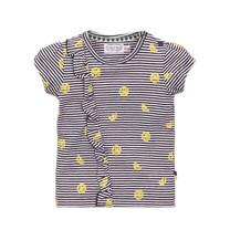 meisjes T-shirt navy + stripe + aop