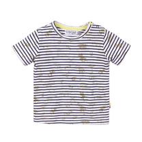 jongens T-shirt navy + stripe + aop