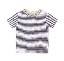 Dirkje jongens T-shirt navy + stripe + aop