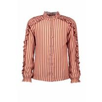 blouse Tikky met ruches op mouw en schouder in aop strepen lychee