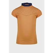T-shirt Kim met kraag met ruches en klein borduursel op de borst cinnamon