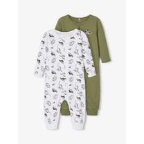 jongens pyjama 2-pack zip loden green dino