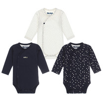 meisjes romper 3-pack navy+off white
