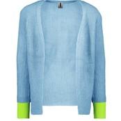 B.Nosy meisjes vest met hoog deel plat breisel in fluor kleur alaska blue