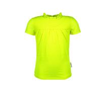 meisjes T-shirt polyester top met smokwerk / voering voorkant safety yellow