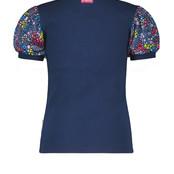 B.Nosy meisjes T-shirt met rib body + pofmouwen van polyester stof space blue