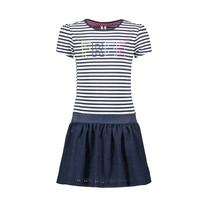 jurk met bovendeel lurex yds + kanten rokdeel met voering pewter spring stripe