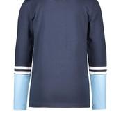 B.Nosy jongens longsleeve met contrasterend mouwgedeelte, borduursel op de voorkant alaska blue