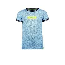 jongens T-shirt met allover melee print, ribboord aan hals en mouwuiteinde melee alaska blue