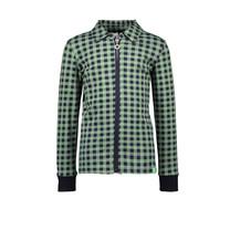 jongens jersey blouse met ritssluiting, ribboorden aan de manchetten hunter check