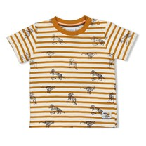 jongens T-shirt streep okergeel - happy camper