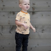 Feetje jongens T-shirt streep okergeel - happy camper